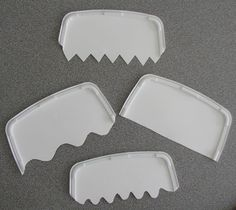DIY CAKE COMBS: Use plastic lids of ice-cream containers. First cut in half with a strong pair of scissors. Next different patterns were cut along one edge of each comb – wavy, jagged, straight and curvy.