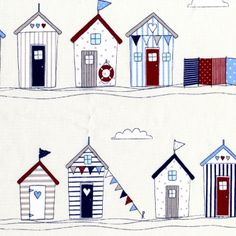 cotton fabric with red and blue beach hut design on natural background. House Quilt Block, House Quilts, Beach Huts Art, Seaside Bedroom, Illustration Techniques, Linoprint, Beach Design, Beach Print, Scrapbook Designs