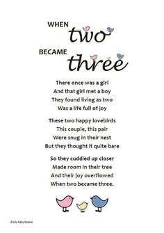 Poem for new baby 'When two became three' gift by AllyPallyPoems #pregnancyannouncementcompilation #ParentingIllustration