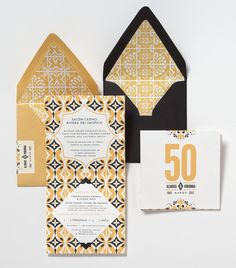 Mexican Tile-Inspired 50th Anniversary Invitations, love these #invitations #graphicdesign #texture