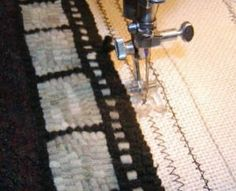 {Finishing your Hooked Rug} - a Cindy Gay tutorial ....adding several rows of zig-zag or straight stitching to keep the foundation from unraveling before you finish the edge with twill tape, whipping it, or whatever other technique you choose to do.