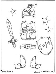 armor for kids- draw body, cut out, cover with each piece as you learn