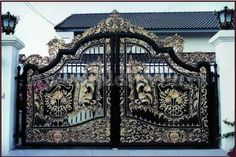2015 wrought iron gate models for sale Manufacturer From Foshan China, FOB Price is USD Meter Front Gate Design, Main Gate Design, House Gate Design, Door Gate Design, Gate House, Facade House, Metal Stairs, Metal Gates, Wrought Iron Gates
