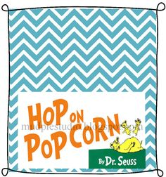 Dr. Seuss Suess Hop on Popcorn Tag Topper Label - Digital File - treat idea for class party, birthday, teacher appreciation, etc