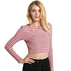 d9fa6a8b1 Weixinbuy Womens Girls Long Sleeve Strip Slim Knitted Short Tops Blouse Tops  -- Want additional