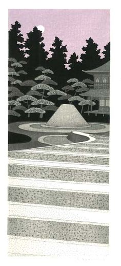 Moon, Ginkakuji. Woodblock print by 加藤晃秀 (Teruhide Kato). From set of prints at http://www.hanga.co.jp/shopbrand/002/003/X/
