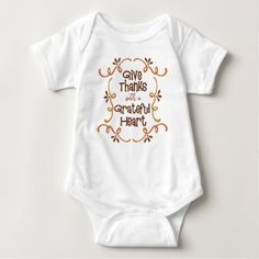 Give thanks with a grateful heart baby bodysuit - thanksgiving day family holiday decor design idea