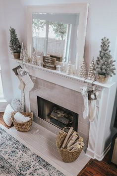 My Christmas Mantle Decor & New Fireplace - Happy Wednesday friends! The new tile is on our fireplace, and I am so happy! I'm pumped - Diy Christmas Fireplace, Christmas Mantels, Fireplace Mantle, Christmas Home, Christmas Decor, Christmas Mantle Decorations, Mantles Decor, Fireplace Ideas, Winter Home Decor