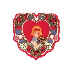 Vintage Valentine Note Card with Blonde Flower Girl