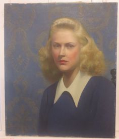Vintage Oil Portrait BEAUTIFUL BLONDE WOMAN in Blue Modern Painting c.1940s Art #Impressionism