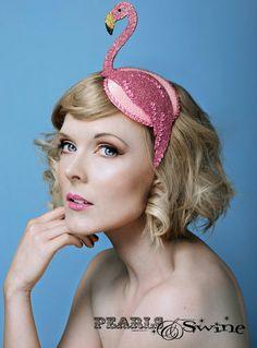 Bespoke ladies hats, fascinators & headdresses handmade in the UK – PearlsandSwine Fascinator Hats, Fascinators, Headpieces, Costume Carnaval, Head Band, Crazy Hats, Corte Y Color, Cocktail Hat, Flamingo Party