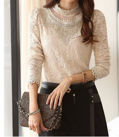 Elegant Blouse Add Wool Floral Pattern Long Sleeve Top Apricot Stand Collar Blouse on Luulla