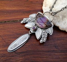 Plume Agate in Amethyst Pendant Necklace Handmade in Silver, Bohemian Style Necklace, Boho Inspired,