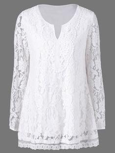 Split-Neck Floral Lace Blouse~~So pretty :) Lace Tops, Chiffon Tops, White Lace Blouse, Clothing Sites, Floral Lace, Blouse Designs, Blouses For Women, Designer Dresses, Ideias Fashion