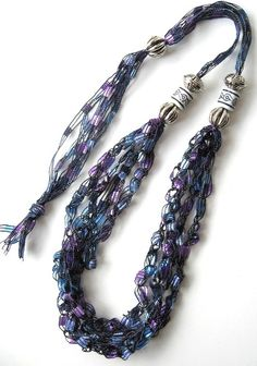 FreeStyle Fiber and Bead Necklace  Vineyard  by knittykittie, $14.00