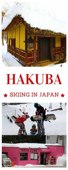 Skiing in Japan – Hakuba. It's snowing lightly and the sun has just set behind the mountains.