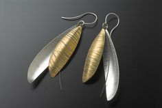 Jane Adam - leaf earrings in fine silver and oxidised silver and gold bimetal