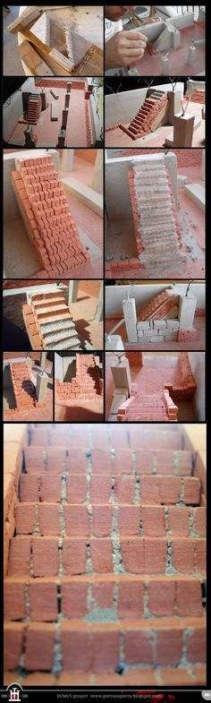 Domus project 8: Brick staircase with concrete and clay (part I) http://pietrasupietra.blogspot.com/2011/12/construction-08-brick-staircase-1.html The Domus project is the construction in scale 1:50 of an imaginary medieval palace. It's made of clay, stones, slate, wood and other construction materials in the style of rich genoese buildings from the middle of XIV century.