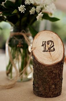 Table Number Stamped On Tree Log    I am Khatu | a Boston style blog: Wedding Wednesday: The number game