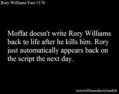 Rory Williams once wrote a script for a TV show.   It's title? Moffat Who.