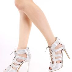 Silver Faux Leather Strappy Heels