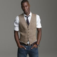 J.crew Linen Herringbone Suit Vest in Brown for Men (brown herringbone) - Lyst