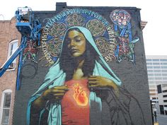 Ave Maria by Muralist ELMAC and background painted by Retna. Salt Lake City, 2009