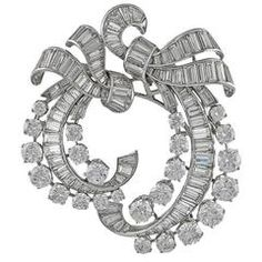 Van Cleef & Arpels Diamond Platinum Double-Clip Brooch