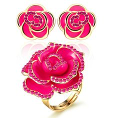 18k Champagne Rose Gold Pink Diamond Adjustable Ring and Earring Set
