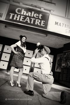 vintage movie theater  engagement photos  hollywood glam  wedding  fashion