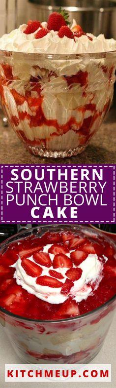 Southern Strawberry Punch Bowl Cake