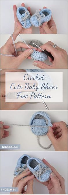 Free Pattern + Video | A step-by-step tutorial, Video, Photo collage and a free pattern. This article has it all for those who want to learn how to crochet cute baby shoes for free!