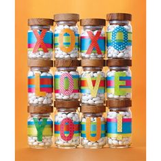 Party Favor Idea - fill our Artisan Glass Canisters with Jordan almonds. Add ribbon and colorful Alphabet Stickers for a message that won't be forgotten.