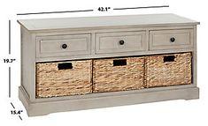 Safavieh Damien 3 Drawer Storage Bench | Ashley Furniture HomeStore 4 Drawer Storage Unit, Storage Shelves, Storage Bench With Baskets, Wicker Baskets, Komodo, Hanging Storage, Taupe, Sock Organization, Furniture