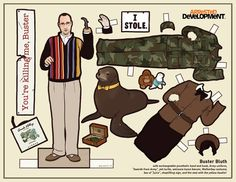 For my fellow Arrested Development fans: Buster paper dolls. (He has printables of the whole Bluth family). @Christopher Branson and @Bryce Bandy