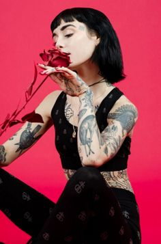 Hannah Snowdon posing for our Valentines Day shoot in our Blasphemy Bra and Godless Leggings.