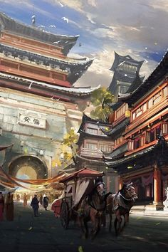 Asian fantasy art, digital illustrations and character studies. Amazing matte paintings 临安城