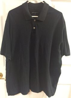 Eddie Bauer Men's Solid Black Short Sleeve Polo Shirt Size XXL 2XL Casual Top #EddieBauer #PoloRugby