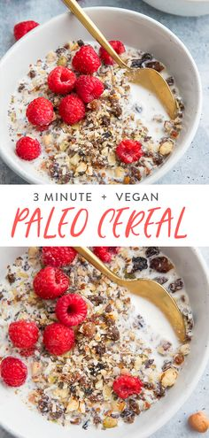 This paleo cereal recipe will totally transform your mornings Its super quick easy and versatile as well as perfectly crunchy and naturally a bit sweet Ready in about 3 m. Paleo Vegan, Vegan Raw, Paleo Diet, Paleo Fruit, Vegetarian, Paleo Cereal, Cereal Recipes, Cereal Food, Fruit Cereal