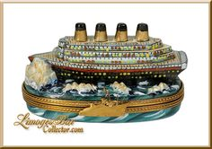 Titanic Hitting Iceberg (Retired) : LIMOGES BOX Specialists! Buy Top-Quality, Authentic, Hand-Painted French LIMOGES BOXES | www.LimogesBoxCollector.com, Buy Exquisite Limoges Boxes Imported from Limoges, France