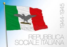 Italy, historical flag of the Social Republic, 1944 - 1945