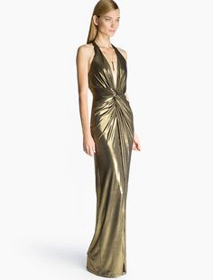 Halston Heritage -Metallic Jersey Gown-Antique Gold-0