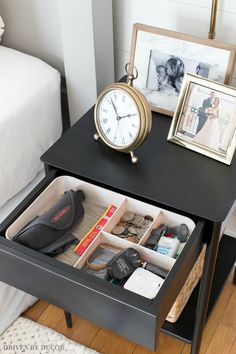 A simple organizer to whip a small drawer (like this nightstand drawer) into shape!