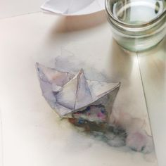 Watercolour painting of the paper boat by Katerina Pytina (@kataucha)