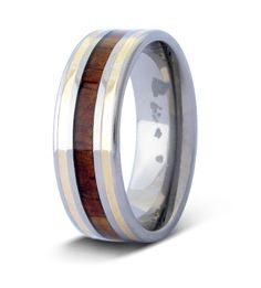 Mens Ring: The Modern 14kt Yellow Gold Wood Inlay Ring | - Engraving Options Available #weddingring #engaged #hawaii | | Great as an engagement ring or anniversary present! Find more designs at www.koawoodrings.com