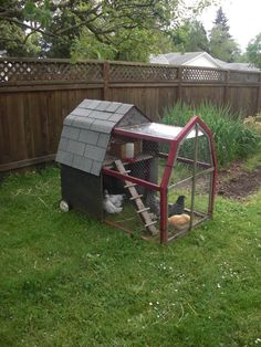 Chicken tractor!  I like the traditional barn roof shape. Hip roof.  #chicken