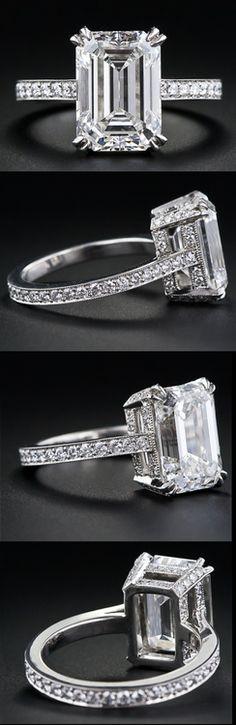 4.00 carat emerald-cut diamond engagement ring. Via Diamonds in the Library. #Diamondrings