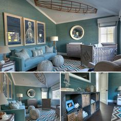 Giuliana Rancic's nursery for baby Duke. Love the grasscloth wallpaper from Phillip Jeffries