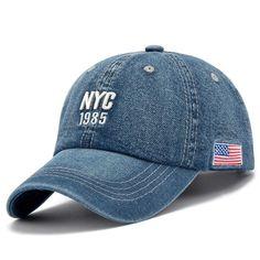 Denim Solid Blue Jeans NEW YORK City 1985 American Flag or Plain Baseball  Hat Cap ~ ad1237509af0