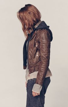 Doma LEATHER JACKET WITH DETACHABLE HOOD